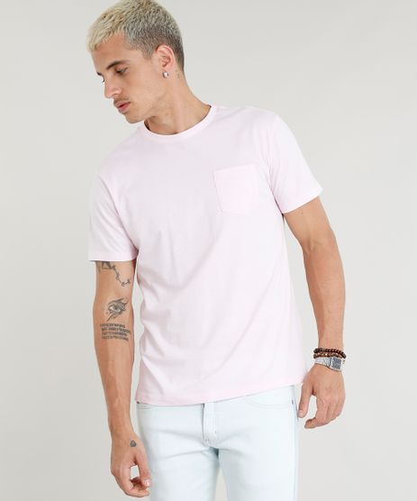 Camiseta-Masculina--Closed-for-Vacation--com-Bolso-Manga-Curta-Gola-Careca-Rosa-Claro-9380495-Rosa_Claro_1
