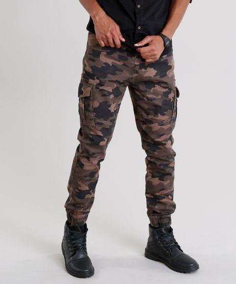 Calca-Jogger-Masculina-Cargo-Estampada-Camuflada-Marrom-9107981-Marrom_1