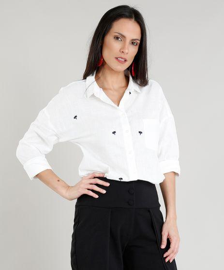 Camisa-Feminina-com-Bordado-de-Coqueiro-e-Bolso-Manga-Longa-Off-White-9277514-Off_White_1