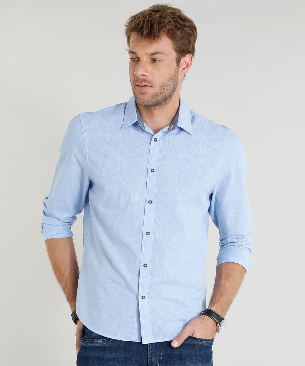 c089f82739 ... Camisa-Masculina-Comfort-Manga-Longa-Azul-Claro-9253843-