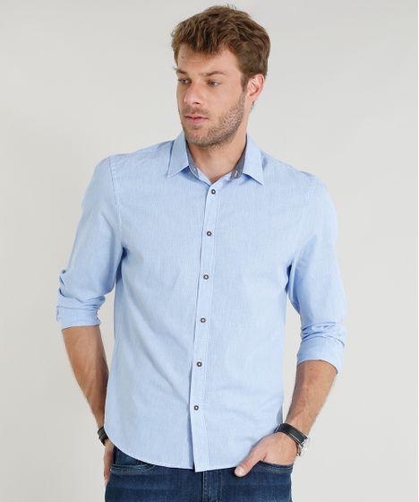 7642f906d5 Camisa-Masculina-Comfort-Manga-Longa-Azul-Claro-9253843- ...