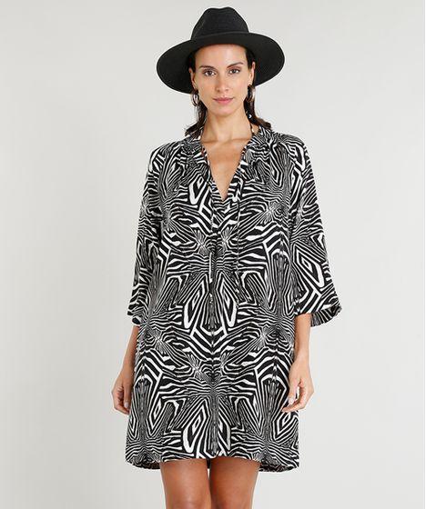 3d549b3bb5 Vestido Feminino Curto Amplo Lenny Niemeyer Estampado Zebra Manga ...