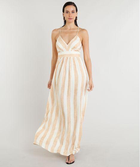 f70f84007a Vestido Feminino Longo Lenny Niemeyer Estampado Listrado Decote V ...