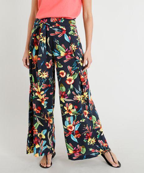 Calca-Pantalona-Feminina-Lenny-Niemeyer-Estampada-Floral-com-Amarracao-com-Protecao-UV50--Azul-Marinho-9280824-Azul_Marinho_1