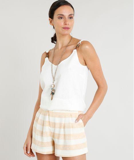 68a0b7da9a Regata Ampla Feminina Lenny Niemeyer em Linho Decote V Off White - cea