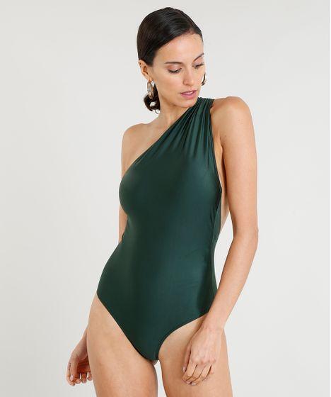 0e2ca9fa9 Maiô Body Feminino Lenny Niemeyer Um Ombro Só Sem Bojo Verde Escuro ...