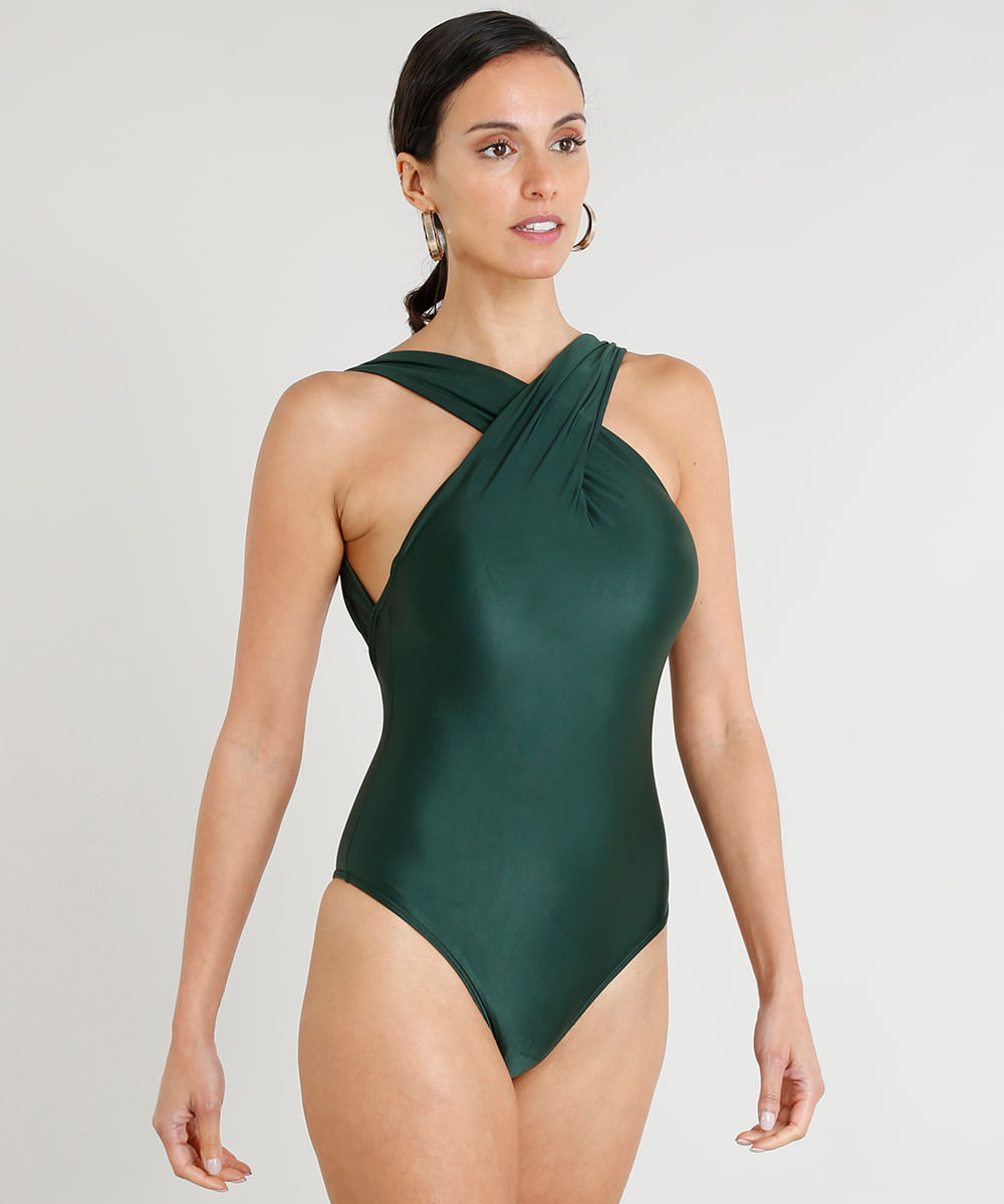 05d6f45e9 Maiô Body Feminino Lenny Niemeyer Decote Cruzado Sem Bojo com ...