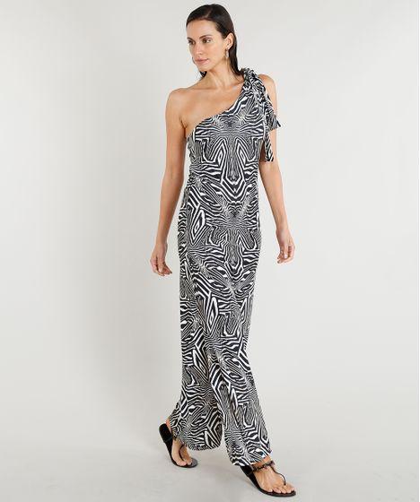 Vestido Feminino Longo Lenny Niemeyer Um Ombro Só Estampado Zebra ... a675ab75a32