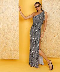 11fd88829073 Vestido Feminino Longo Lenny Niemeyer Um Ombro Só Estampado Zebra ...