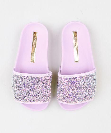 00e6f5dfd Chinelo-Slide-Infantil-Moleca-com-Glitter-lilas-9381747- ...