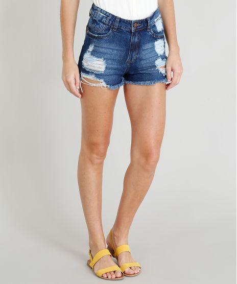 Short-Jeans-Feminino-Hot-Pant-Destroyed-com-Barra-Desfiada-Azul-Escuro-9374509-Azul_Escuro_1