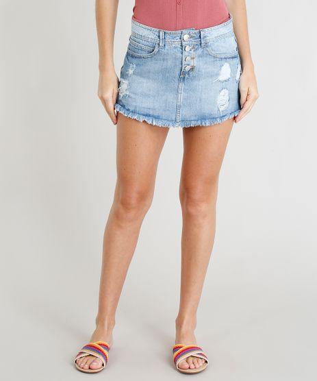 Short-Saia-Jeans-Feminino-Destroyed-com-Barra-Desfiada-Azul-Claro-9374771-Azul_Claro_1