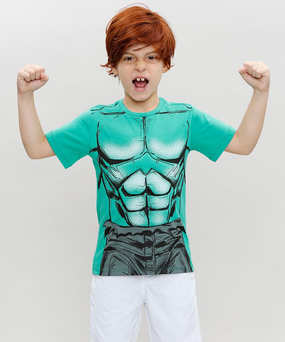 Camiseta Infantil Hulk Manga Curta Gola Careca + Máscara Verde - cea c1e059eea8244