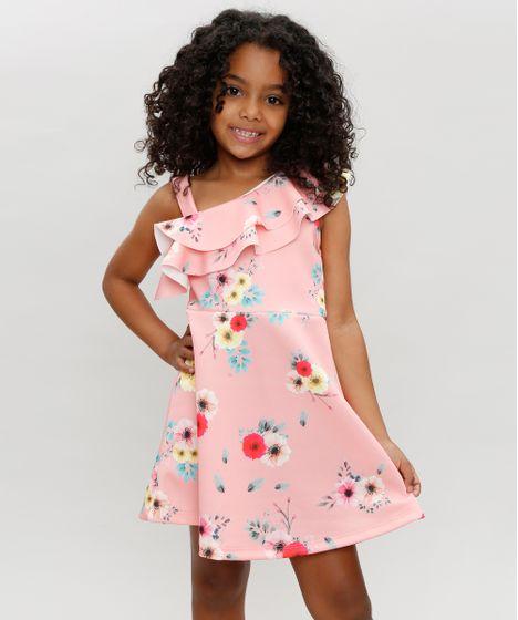 282d5ce86 Vestido Infantil Um Ombro Só Estampado Floral com Babado Coral - cea