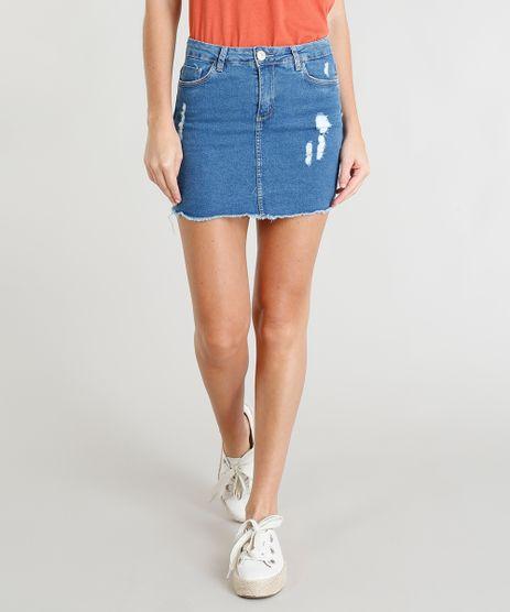Saia-Jeans-Feminina-com-Puidos-Barra-Desfiada-Curta-Azul-Medio-9389459-Azul_Medio_1