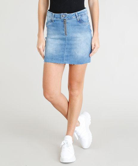 Saia-Jeans-Feminina-Sawary-Curta-com-Ziper-Azul-Medio-9417623-Azul_Medio_1