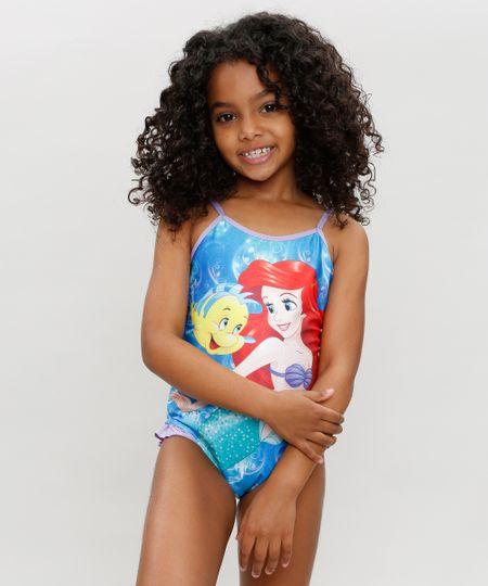 5b559a207 Menor preço em Maiô Infantil Ariel Pequena Sereia com Babados com Proteção  UV50+ Lilás