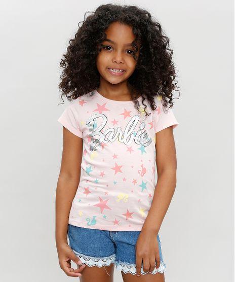 Blusa-Infantil-Barbie-com-Estampa-de-Estrelas-Manga-Curta-Decote-Redondo-Rose-9327702-Rose_1