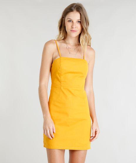 Vestido-Feminino-Curto-Acinturado-Alcas-Finas-Mostarda-9372325-Mostarda_1