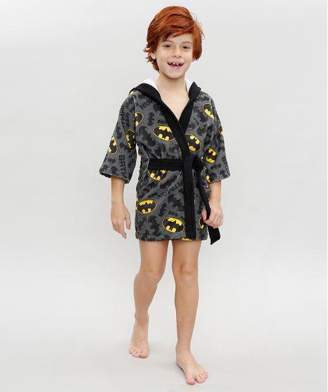 6e4696f9dd971e Roupão Infantil Estampado Batman com Capuz Chumbo - cea