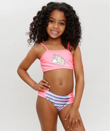 9f96716f5e35 Biquíni Infantil com Unicórnio e Proteção UV50+ Rosa Neon - cea