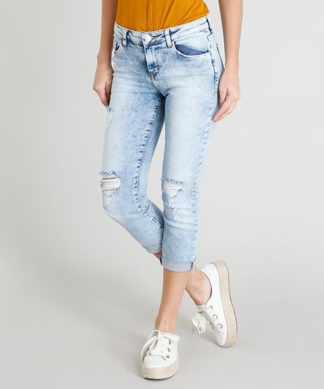 Calca-Jeans-Feminina-Cropped-com-Rasgos-Azul-Claro-9401455-Azul_Claro_1
