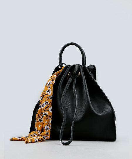 9933c24f8 Bolsa Saco com Lenço Estampado Floral Preta - Único | Menor preço ...