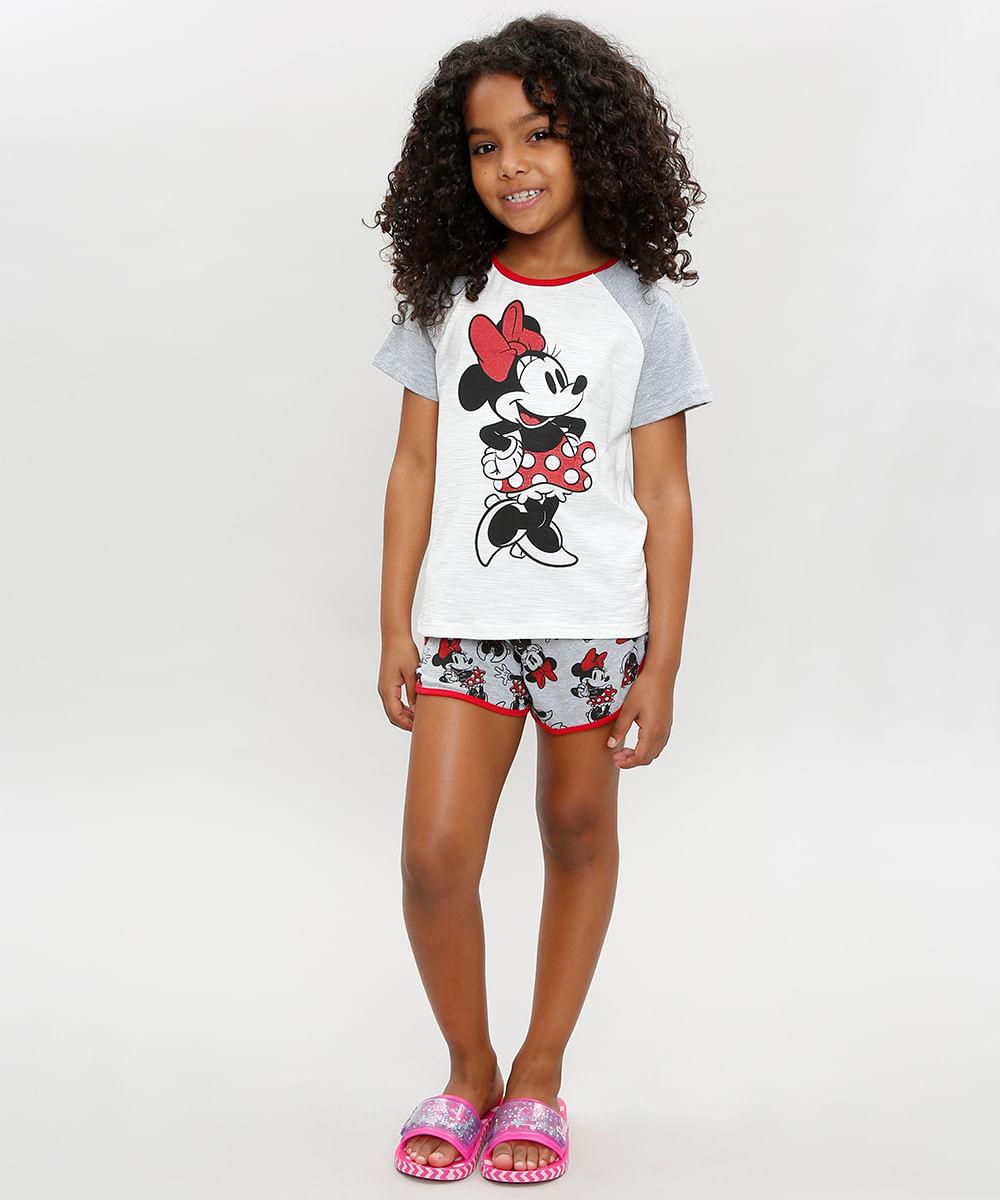 ee6002c1ae8044 Pijama Infantil Minnie Manga Curta Raglan Decote Redondo Cinza ...