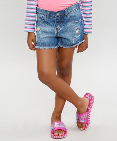 Short-Jeans-Infantil-com-Bordado-de-Unicornio-e-Barra-Desfiada-Azul-Medio-9359007-Azul_Medio_1