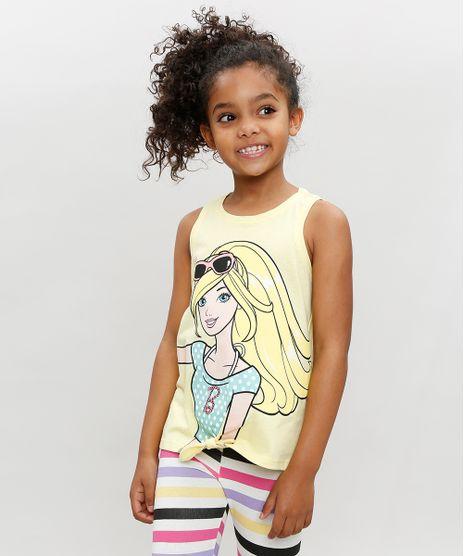 Regata-Infantil-Barbie-com-No-Decote-Redondo-Amarela-9327706-Amarelo_1