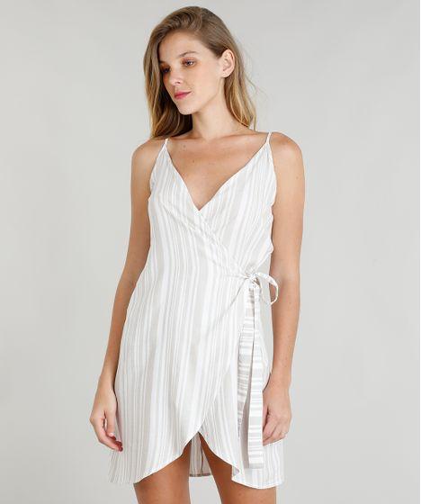 713849b9c Vestido Envelope Feminino Listrado Curto Decote V Off White - cea
