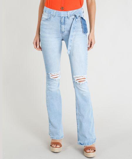 dac81adca Calça Jeans Feminina Flare Rasgos Cintura Alta com Faixa de Amarrar Azul  Claro - cea