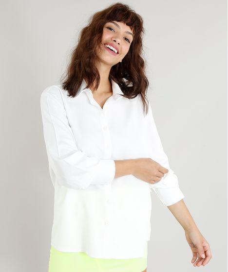 65511ecb0 Camisa Feminina Mindset Básica Branca Manga Longa Off White - cea