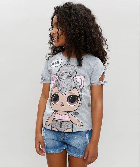 Blusa-Infantil-LOL-Surprise-com-Glitter-Manga-Curta-Decote-Redondo-Cinza-Mescla-9297077-Cinza_Mescla_1