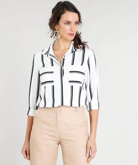 064cc62a0 Camisa Feminina Listrada com Bolsos Manga Longa Branca - cea