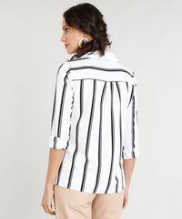 de1a3e7bb Camisa Feminina Listrada com Bolsos Manga Longa Branca - ceacollections