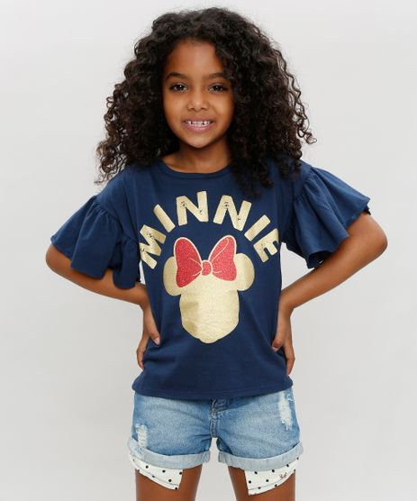 Blusa-Infantil-Minnie-com-Babado-Manga-Curta-Decote-Redondo-Azul-Marinho-9350117-Azul_Marinho_1