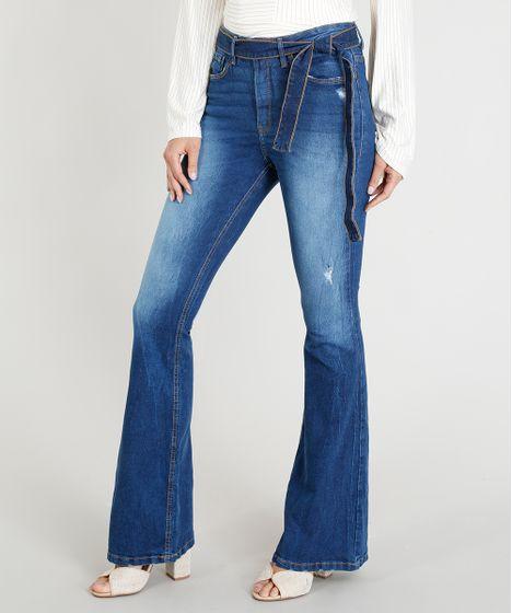 23cc83dd2 Calça Jeans Feminina Flare Cintura Alta com Faixa de Amarrar Azul ...