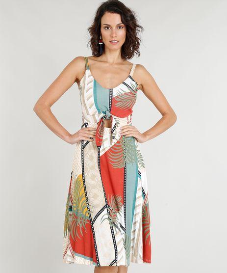 Vestido-Feminino-Curto-Estampado-de-Folhagens-com-No-Bege-9354718-Bege_1