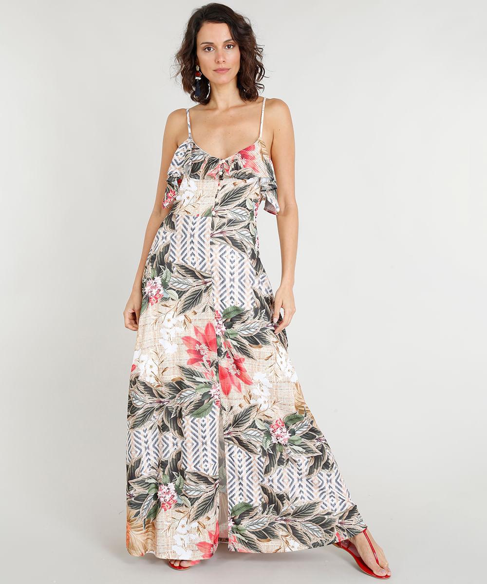 25e3c1de9fc Vestido Longo Feminino Estampado Floral com Babados Bege - cea