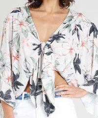 233caa9bd3 ... Blusa-Feminina-Cropped-em-Linho-Estampada-Floral-com-. Blusa Feminina  Cropped em Linho Estampada Floral com Nó Manga Longa Bege Claro