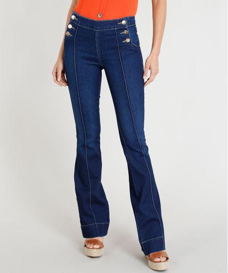 912da3252 Calça Jeans Feminina Sawary Flare com Frisos Azul Escuro - cea