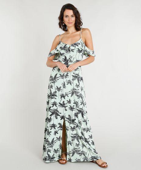 Vestido-Longo-Feminino-Estampado-de-Coqueiros-com-Babados-Verde-Claro-9355501-Verde_Claro_1
