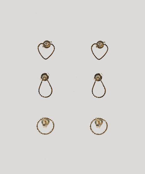 Kit-de-3-Brincos-Femininos-Dourado-9292859-Dourado_1