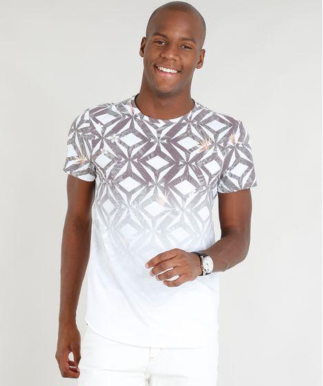 a78b8a832605a4 Camiseta Masculina Slim Fit Estampada Geométrica Degradê Manga Curta Gola  Careca Branca