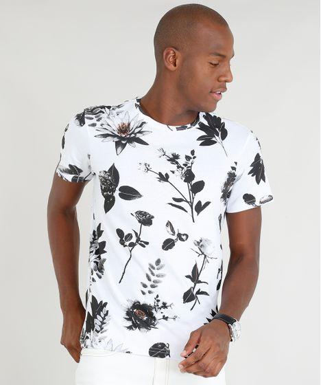 4a976ed1ca176 Camiseta Masculina Slim Fit Estampada de Folhas Manga Curta Gola ...