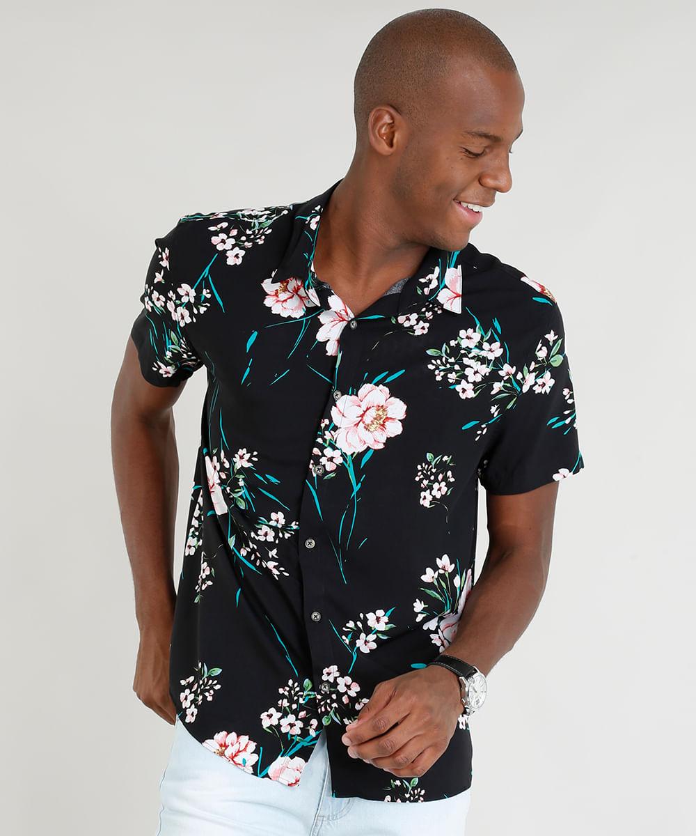 Camisa Masculina Relaxed Estampada Floral Manga Curta Preta - cea 5c7fc5beb4