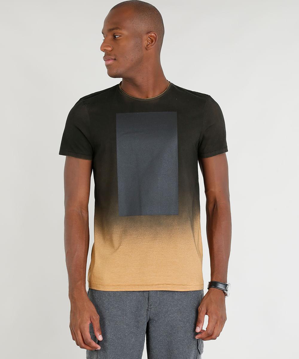 efae2c94e Camiseta Masculina Slim Fit Mescla Degradê Manga Curta Gola Careca ...