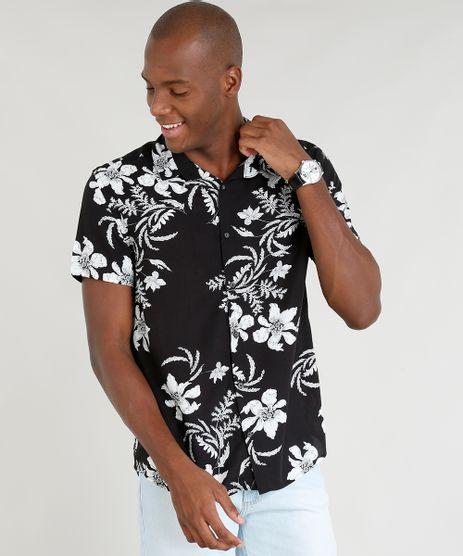 Camisa-Masculina-Relaxed-Estampada-Floral-Manga-Curta-Preta-9391761-Preto_1