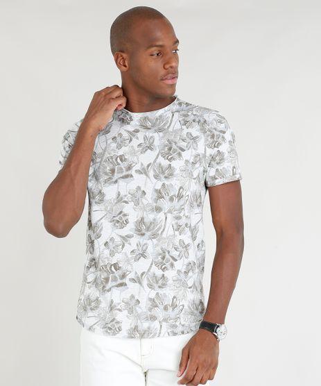 Camiseta-Masculina-Slim-Fit-Estampada-Floral-Manga-Curta-Gola-Careca-Cinza-Mescla-Claro-9341855-Cinza_Mescla_Claro_1